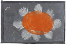 Pieter Laurens Mol, Icarus Flower, 1986, red lead paint on old glass, swan's feathers and lead; zinc paint on steel support, 46 x 52,8 cm (panel size), © Parrotta Contemporary Art