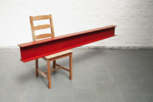 Roeland Tweelinckx, Beam and Chair, 2018, Chair, wood and paint, 194 x 90 x 46 cm