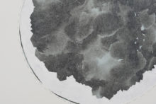 Gudny Rosa Ingimarsdottir, eskihlidartungl, 2019, Various waterbased materials, sewing on diverse papers, 63,4 x 69,9 cm (framed) (detail)