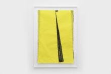 Bernard Villers, Mingeishi noir et jaune 2, 2019, Ink on mingeishi paper, 113 x 80,5 cm (framed)