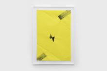 Bernard Villers, Mingeshi noir et jaune 3, 2019, Ink on mingeshi paper, 113 x 80,5 cm (framed)
