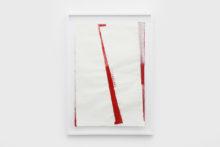 Bernard Villers, Mingeshi blanc et rouge, 2019, Ink on mingeshi paper, 113 x 80,5 cm (framed)