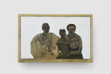 Michèle Magema, Cultiver les champs à la suédoise : Famille congolaise - Bois 2 , 2020, Indian ink and painting on wood, 20 x 30 cm