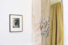 Corinne Silva, Flames Among Stones, 2019, photogravure and textile. Exhibition view of