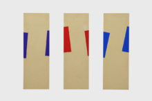 Bernard Villers, Emballages, 2019, Tempera on wood, 117 x 39 cm (each)
