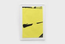 Bernard Villers, Mingeishi noir et jaune 5, 2019, Ink on mingeishi paper, 113 x 80,5 cm