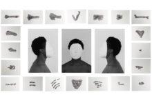 Michèle Magema, Lucie c'est toi, Lucie c'est moi, 2017, Tirage numérique et encre acrylique noire, variable dimensions - installation