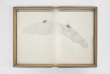 Gudny Rosa Ingimarsdottir, folded, 2015, Folded calque paper sawn on an ink drawing in carton box, 31,5 x 23 cm