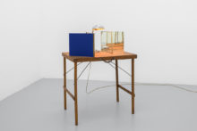 Rui Calçada Bastos, Portable space, 2019, Lamp, wooden table, mirrors and iron, 107 x 70 x 50 cm