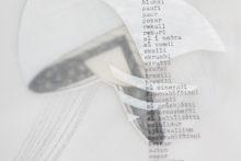 Gudny Rosa Ingimarsdottir, 58 orð, 2018, Gouache, pencil, sawing, typewriting on divers paper, 21 x 29,7 cm