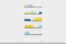 Guillermo Mora, Cuaderno: la jornada (pagina 3) / Notebook: the journey (page 3), 2016, Polychromed rabbit-skin glue, acrylic painting, metal bars, 175 x 100 x 3 cm