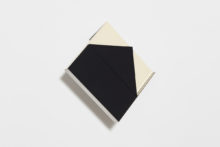 Fernanda Fragateiro, overlap (black and white), 2, 2020, Polished stainless steel and manufactured notebooks with fabric cover, 50 x 50 x 7 cm