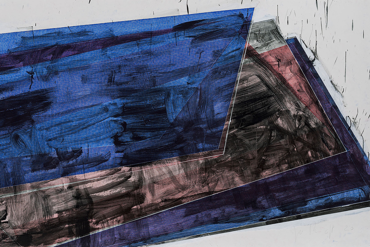 José Pedro Croft, Untitled, 2020, Gouache, acrylic paint, Indian ink and varnish on paper, 163 x 283 cm