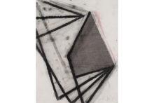 José Pedro Croft, Untitled, 2019, Charcoal, varnish, Indian ink on paper, 60 x 49,5 cm (framed)